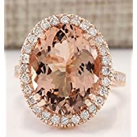 jindarat Chic Jewelry Rose Gold Plated Morganite Ring Wedding Engagement Gift Size 6-10 (9)