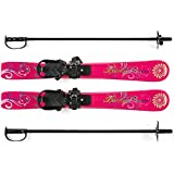 Lucky Bums Kids Beginner Snow Skis and Poles, Pink Paisley