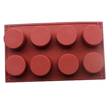 HBlife 8 cavidad jabón cilindro redondo molde DIY molde del silicón de la magdalena de silicona moldes molde jabón hecho a mano: Amazon.es: Hogar