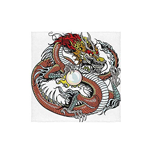 C COABALLA Dragon Durable Square Small Towel,Traditional Chinese Creature Holding A Large Pearl Zodiac Signs Folk Tattoo Graphic Decorative for Bathroom,13