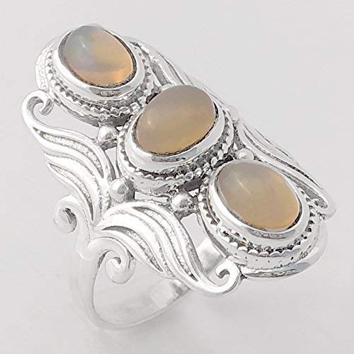 Anillos de plata para mujer,Ethopian Opal Solid 925 Sterling Silver Ring Jewelry