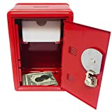 """Kid's Coin Bank Locker Safe with Combination Lock and Key - 7"""" High Red"""