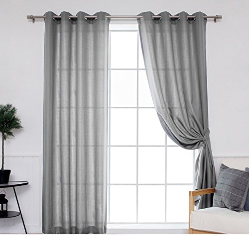 DH 2 Pieces 96 Inch Grey Color Gazebo Curtains Set Pair, Gray Solid Color Pattern Rugby Colors Outside, Outdoor Pergola Drapes Porch Deck Cabana Patio Screen Entrance Sunroom Lanai