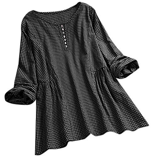 Matasleno Women Casual Loose T-Shirt Plus Size Long Sleeve Blouse Cotton Linen Tops Tee Black ()