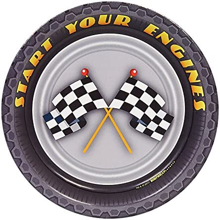 Racecar Racing Party Supplies 18cm Paper Dessert Plate (8)