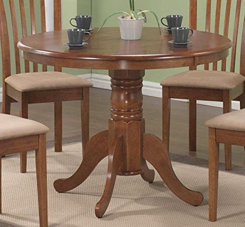 Monarch Specialties Round Pedestal Table, 40-Inch, Oak
