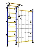 Playground Set with Cargo Net Climbing Wall for Kids / Blue Indoor Wall Gym Training Sport Set with Accessories Equipment: Trapeze Bar Swing Set, Climber, Climbing Rope, Jump Rope / Suit for Backyard, School and Kids Room / Comet Next 3