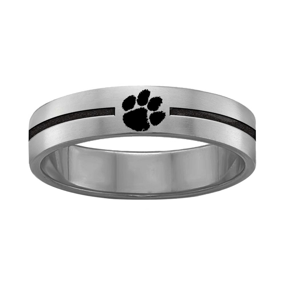 Clemson University Tigers Rings Stainless Steel 8MM Wide Ring Band (12)
