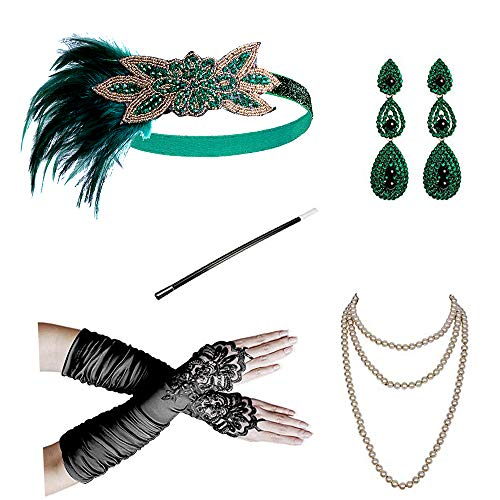 1920s Flapper Gatsby Costume Accessories Set 20s Flapper Headband Pearl Necklace Gloves Cigarette Holder(S) -