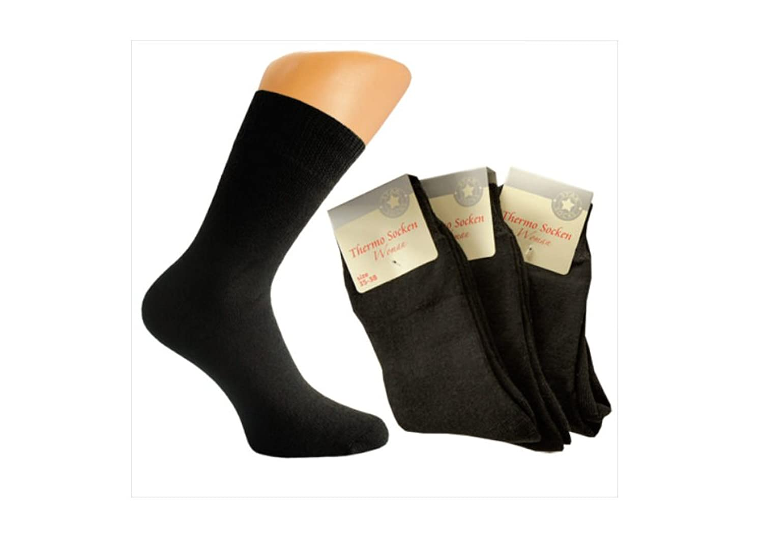 3er oder 6er Pack Damen Thermo-Socken, Frotteesocken, uni schwarze Socken, warme Thermosocken, Home-Socken