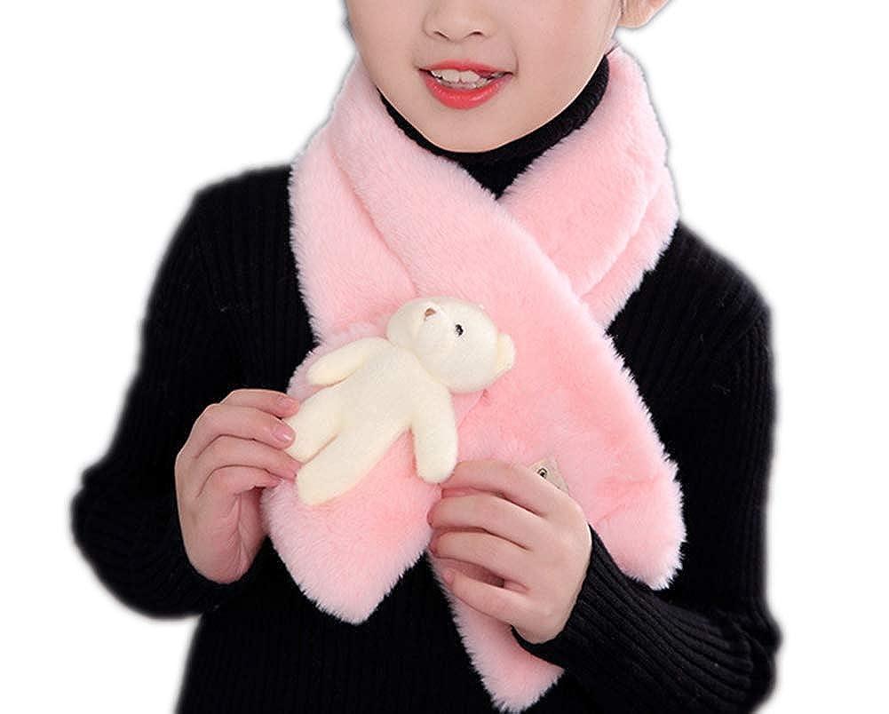 Unisex Girls Boys Kids Teen Winter Warm Cute Cartoon Bear Scarves Fashion Soft Plush Scarf