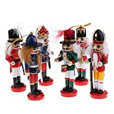 MonkeyJack 6Pcs/Set 12cm Wooden Nutcracker Drummer Soldiers Dolls Vintage Handcraft Puppets Decorative Ornaments Home Decoration Xmas Gifts