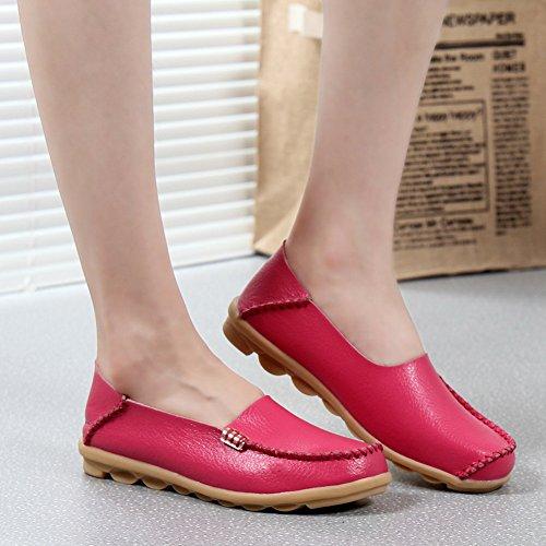 Yixinan Mode Flats Leren Casual Veterschoenen Voor Vrouw Perzik Red2