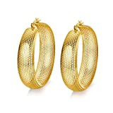 Meixiao Women Stainless Steel Hollowed out Hoop Earring 18K Gold Plated Click-Top (stainless-steel)