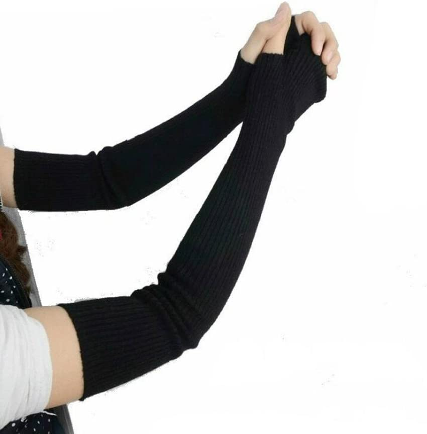 Amazon Com 1pair 41cm Knitted Winter Arm Warmer Fingerless Long Gloves Elastic Stretch Winter Warm Long Arm Sleeve Fingerless Arm Gloves For Ladies Women Girl Black Home Kitchen