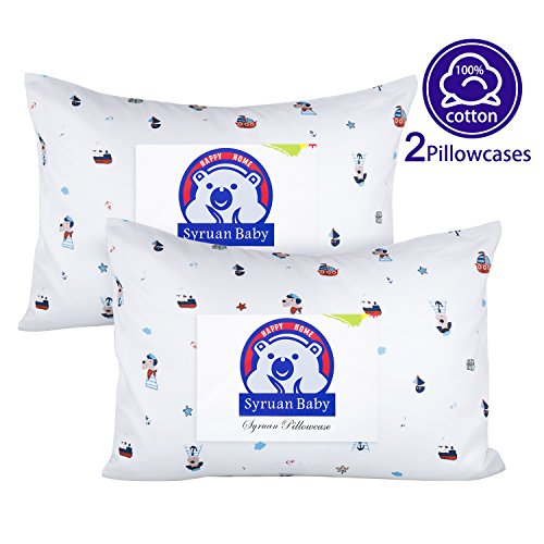Syruan Toddler Pillowcases 2 Pack 100% Cotton 13x18 for Toddler Pillows - Navy Dog