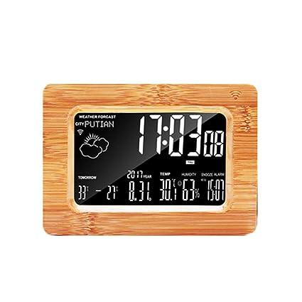 Despertador Creative Madera Maciza Inteligente WiFi Inteligente LCD El Pronóstico del Tiempo Timbre Automático Despertador Creativo
