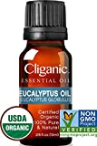Cliganic USDA Organic Eucalyptus Essential Oil, 100% Pure | Natural Aromatherapy Oil for Diffuser/Humidifier, Steam Distilled (10ml) | 100% Satisfaction Guarantee
