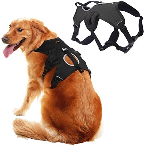 SCENEREAL Escape Proof Large Dog Harness - Outdoor Reflective Adjustable Vest with Durable Handle and Leash Ring for Medium Large Dogs Training Walking Hiking, Black M by SCENEREAL