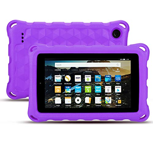 Case for All-New Fire 7 Tablet - Auorld Anti Slip Shockproof Light Weight Kids Friendly Protective Case for Fire 7 inch Display - Purple Tablet Inch Case 7