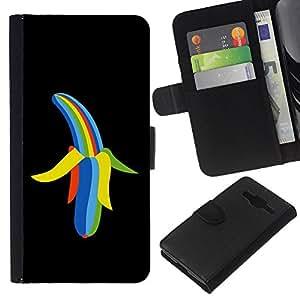 EJOY---La carpeta del tirón la caja de cuero de alta calidad de la PU Caso protector / Samsung Galaxy Core Prime / --Color del arco iris del plátano