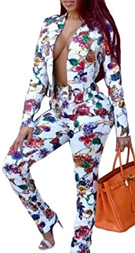 マウスピース決めます容疑者Keaac 女性ファッションラペルプリントブレザーコート2ピースパンツセット