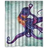 """Unique and Generic Rainbow octopus Shower Curtain Custom Printed Waterproof fabric Polyester Bath Curtain 60""""(w) x 72""""(h) Inches-Bathroom Decor Shower Curtain"""