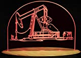 Oil Rig Well Pump Jack Derrick Drill 13'' Acrylic Advertising Business Logo Acrylic Lighted Edge Lit LED Sign / Light Up Plaque