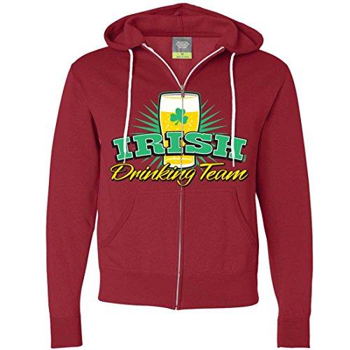 Irish Drinking Team Lager Zip-Up Hoodie - Red X-Large