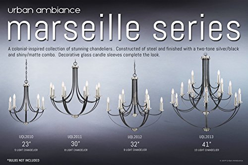 Luxury Mid-Century Modern Chandelier, Large Size: 31.5''H x 32''W, with Colonial Style Elements, Silver Trimmed Design, High-End Black Silk Finish and Exposed Bulbs, UQL2012 by Urban Ambiance by Urban Ambiance (Image #5)