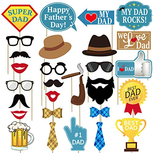 Fathers Day Photo Booth Props - 29 Count, No Diy Required - Fathers Day Party -