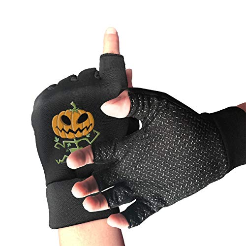 Cycling Gloves Men Half Finger Pumpkin People Decorate Halloween Shock-Absorbing Anti-Slip for Adult/Youth Exercise