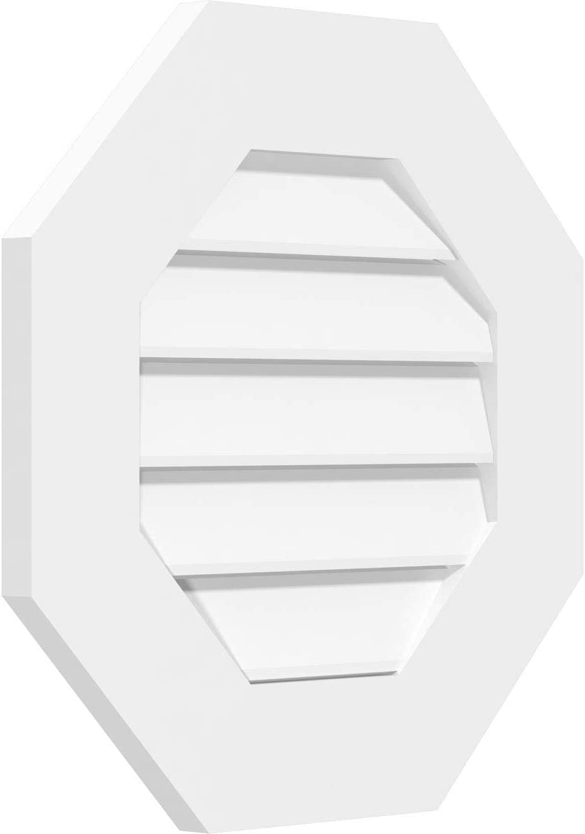 Factory Primed White 22 W Inch x 22 H Inch Ekena Millwork GVPOC22X2201SF Octagonal Surface Mount PVC Gable Vent