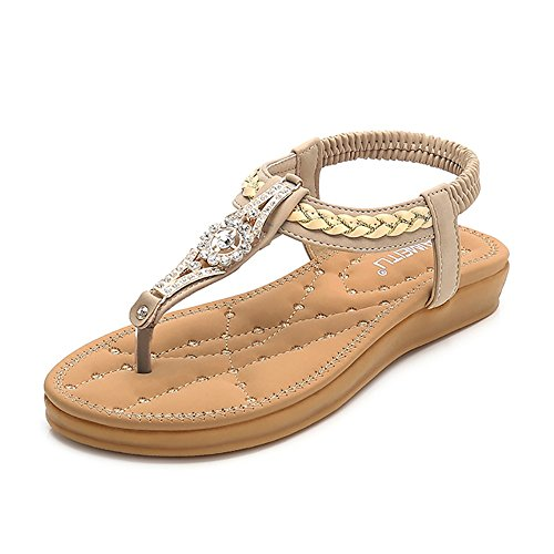 Wollanlily Women Summer Beach Bohemia Flat Sandals Rhinestones T Strap Ankle Strap Flip-Flop Thong Shoes Apricot-01 US 7 (Sandals Embellished T-strap)