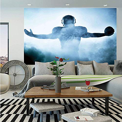 Sport Removable Wall Mural,Heroic Shaped Rugby Player Silhouette Shadow Standing in Fog Playground Global Sports Photo,Self-Adhesive Large Wallpaper for Home Decor 66x96 inches,Blue