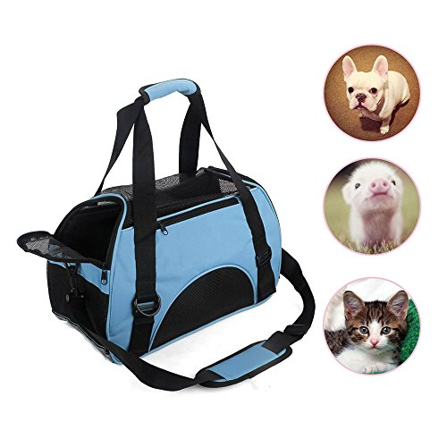 LMM Water Proof Portable Side Pet Carrier Bag for Little Petite Dogs and Cats Pig Airline-Approved Under Seat Travel Small Dog Carriers Tote Bag Blue (Blue)