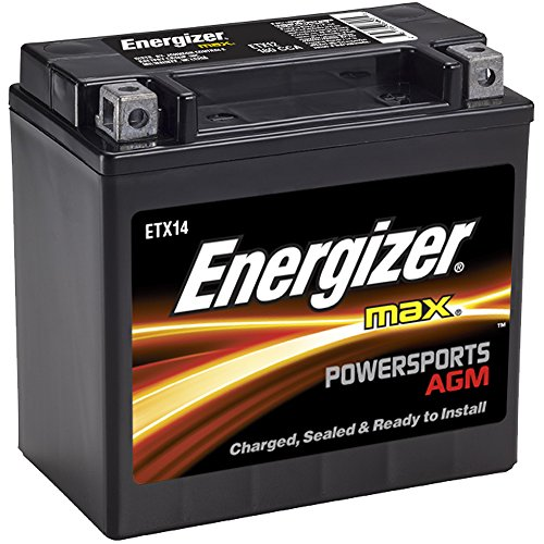 Energizer ETX14 AGM Motorcycle and ATV 12V Battery, 200 Cold Cranking Amps and 12 Ahr.  Replaces: YTX14-BS and (Battery Cranking Amps)