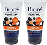 Biore Charcoal Acne Scrub 4.5 Ounce (133ml) (2 Pack)