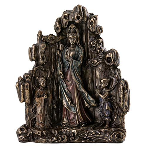 - Top Collection Decorative Feng Shui Quan Yin Statue - Hand Painted Beautiful Kwan Yin Fertility Sculpture in Premium Cold Cast Bronze - 8.75-Inch Collectible East Asian New Age Supreme Buddha Figurine