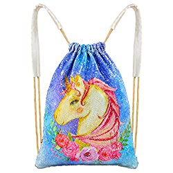"""About this item:  -- Name: MHJY Unicorn Backpack Mermaid Sequin Drawstring Bag -- Material: Sequin & Dacron -- Size: 45cm*36cm/17.7*13.8"""" -- Quality: the item is made of high quality, it is durable, every product passes through our strict review,..."""
