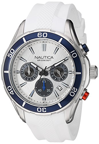 Nautica Men's 'NST 12' Quartz Stainless Steel and Silicone Casual Watch, Color:White (Model: NAD15520G)