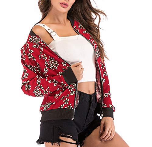 Manica Outerwear Primavera Fox Giacca Donna Tops Jacket Lunga Casual Autunno Baseball Blouse Fräulein Coat Bomber Rosso3 Corto Stampa E Giacche Moda 8ad55qw
