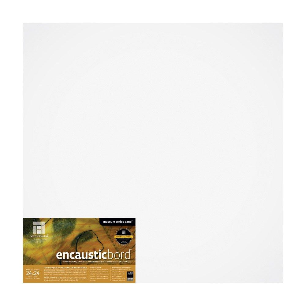 Ampersand Encausticbord Hardboard Panel for Encaustics and Mixed Media, 1.5 Inch Depth Cradle, 24X24 Inch (ENC152424) by Ampersand
