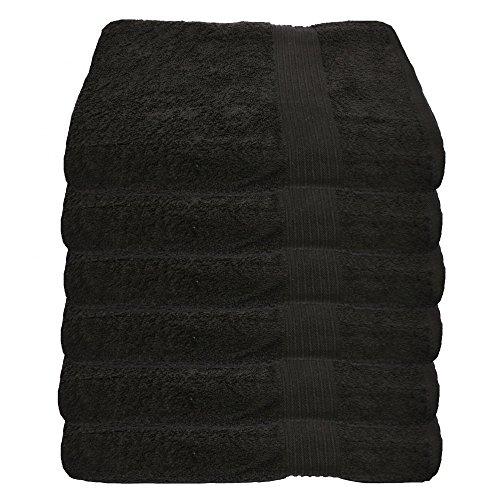 Julie Julsen 6 er Set Handtuch Schwarz 50 x 100 cm in 17 Farben erhältlich weich und saugstark 500gsm Öko Tex