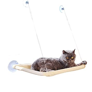Lomire Hamaca para Ventana de Gato, Cama Asiento Colgante con 4 Ventosas Grandes para Tomar la Siesta y Tomar el Sol (Puede Soportar hasta 15 kg): ...