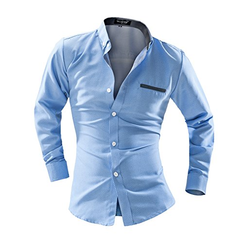 Men's Slim Fit Long Sleeve Button Down Dress Shirt (US-XS, Light Blue)