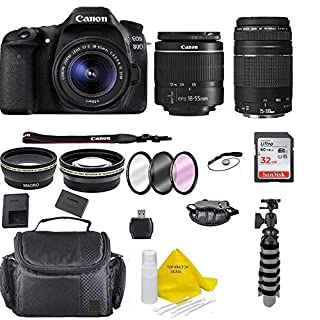 Canon EOS 80D DSLR Camera w/EF-S 18-55mm F/3.5-5.6 III Zoom Lens+Canon EF 75-300 Lens+ 32GB Memory Card+ Flex Tripod+ TopKnotch Deals Cloth (International Model) Bundle