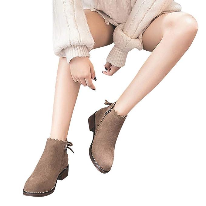 ❤️ Botas de Punta Mujer Redonda, Zapatos Planos Botines Cremallera Gamuza Zapatos de Color sólido Boots Causal Zapatos Patry Botas Invierno otoño ...