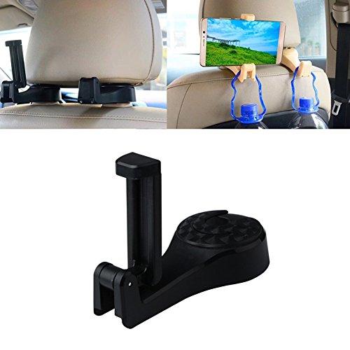 iPhone Car Backseat Holder,2 in 1 Phone Car Backseat Headrest Holder Hook Hooks Hanger Organizer,set of 2(black) (Functional Hook)
