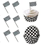 24 Checkered Racing Flag Cupcake Pick Decorations & 24 Baking Cups Set